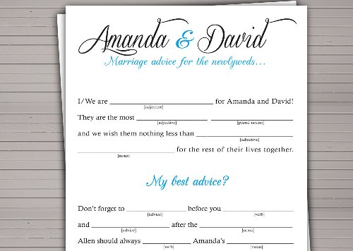 How to Make Your Own Wedding Mad Libs Style