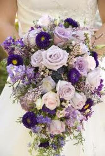 Wedding Bouquet with Silk Flowers in Purple