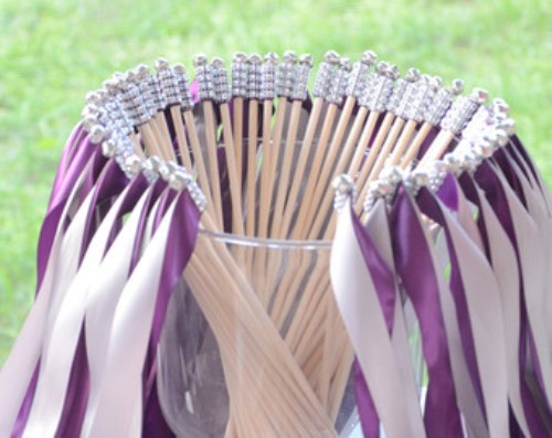 Wedding Streamer Wands in Purple