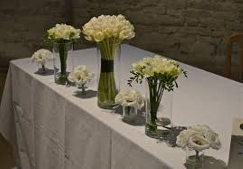 Wedding Table Flowers in White